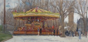 Gallopers - oil painting of the South Bank Golden Carousel by painter Roy Connelly