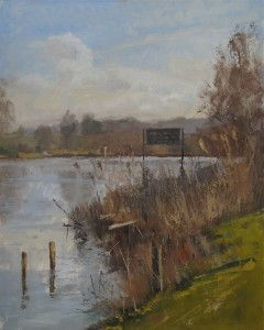Oil painting of The River Thames at Aston near Henley