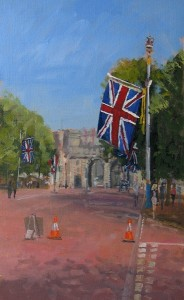 Union Flags in The Mall - Oil painting by Roy Connelly
