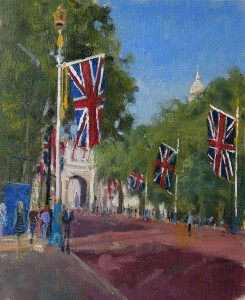 Royal Flags-The Mall. Oil painter Roy Connelly
