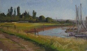 Rye Harbour summer afternoon, oil painting by Roy Connelly