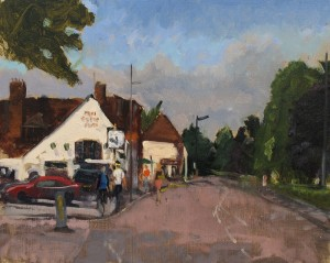 The Old Cock Inn, Harpenden. Oil Pianting by Roy Connelly