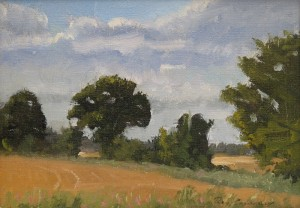 Oil painting, Suffolk landscape by Roy Connelly