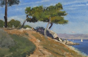 painting of Pines at Cap D'Antibes, by oil painter Roy Connelly.