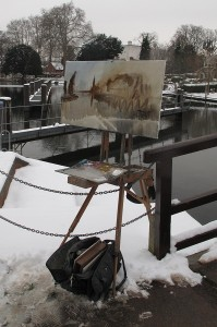Winter painting by the Thames at Marlow. Roy Connelly