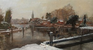 Snow at Marlow, oil painting by Roy Connelly