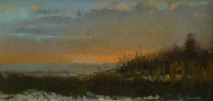 Sunset Above the Stour Valley - oil painting by Roy Connelly