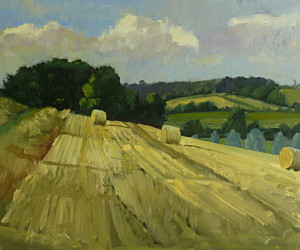 ox Valley Straw Bales. Suffolk oil painting by Roy Connelly
